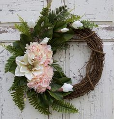 Magnolia Wreath, Hydrangea Wreath, Southern Wreath, Year Round Wreath, Spring Wreath, Summer Wreath, Front Door Wreath, Everyday Decor by CrystalsCottageHome on Etsy https://www.etsy.com/listing/514265860/magnolia-wreath-hydrangea-wreath