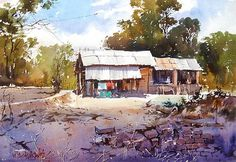 Vilas Kulkarni Watercolor Barns, Watercolor Scenery, Watercolor Sketchbook, Watercolor Artwork, Watercolor Landscape, Watercolour Painting, Landscape Art, Landscape Paintings, Watercolors