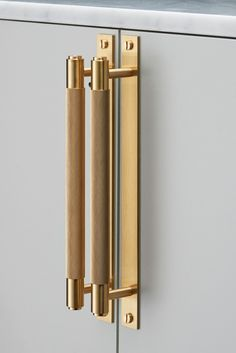 Amazing brass and leather kitchen cabinet hardware