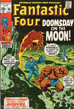 """Fantastic Four vol. 1 #98, """"Mystery on the Moon!"""" (May, 1970). Jack Kirby."""