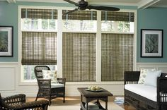 Light-Filtering Roman Shades and Hobbled Cornice