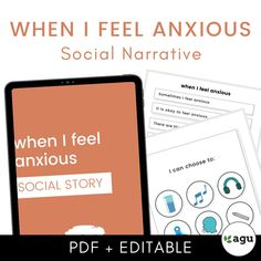 When I Feel Anxious | Social Narrative   Social Story. Interested in using social narratives or social stories for older students on the autism spectrum? This is a social story that you can use with at least older elementary-aged to high school students, with age-appropriate visuals. Autism Resources, Classroom Resources, Coping Skills, Life Skills, Appropriate Behavior, Social Workers, Emotional Regulation, Autism Classroom, Social Stories