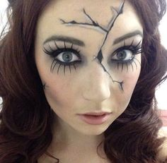 Are you looking for inspiration for your Halloween make-up? Browse around this website for cute Halloween makeup looks. Creepy Doll Costume, Creepy Doll Makeup, Broken Doll Makeup, Cracked Doll Makeup, Creepy Halloween Costumes, Cute Halloween Makeup, Scary Dolls, Halloween Costume Contest, Halloween Makeup Looks
