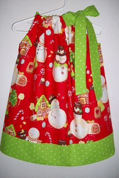 THESE WOULD BE TOO CUTE, WITH; * WHITE LONG SLEEVE SHIRT * WHITE FLEECE LINED LEGGINGS * RED HAIR BOW * AND LITTLE RED BALLET SLIPPERS!!  Christmas Pillowcase Dress CANDYLAND SNOWMEN by lilsweetieboutique, $20.00