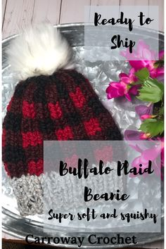 Knit beanie in Buffalo Plaid style. Soft and cozy knit hat that is perfect for winter. So modern and in trend. Ready to ship. Knit Beanie Hat, Crochet Beanie, Knitted Hats, Beanies, Wool Dryer Balls, Cozy Knit, Faux Fur Pom Pom, Plaid Fashion, Trends
