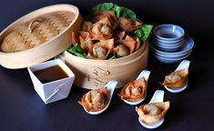 Crispy Duck Wontons Recipe~ Because the filling is completely cooked, these wontons can be assembled ahead of time and quickly fried just before serving.