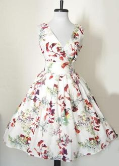 50s Vtg Style Twirl Floral Pinup Swing Dress Small New Print   eBay $58.00