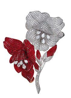 Van Cleef & Arpels Ruby and Diamond Brooch Gems Jewelry, Diamond Jewelry, Fine Jewelry, Diamond Pendant, Diamond Rings, Jewelry Necklaces, Van Cleef And Arpels Jewelry, Van Cleef Arpels, Bling Bling