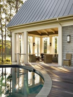 Mar 2018 - Exterior inspiration for waterfront properties. See more ideas about House design, Exterior design and Exterior. Outdoor Drapes, Outdoor Flooring, Design Exterior, Luxury Interior Design, Contemporary Interior, In Ground Pools, Cottage Homes, My Dream Home, Luxury Homes