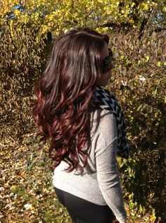 Long loose curls. Ombre red hair color