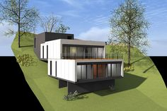 1 2 3 4 5 Perspectives Building A Container Home, Container House Design, Luxury House Plans, Modern House Plans, Minimal House Design, House Construction Plan, House Extension Design, Hillside House, Forest House