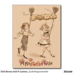 Girls Broom Jack O' Lantern Pumpkin Postcard