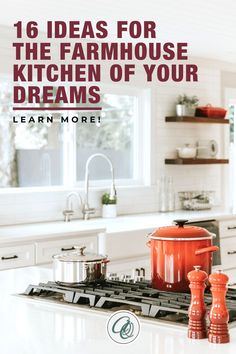 Learn more about 16 Ideas for the Farmhouse Kitchen of Your Dreams. Having been looking for design inspirations for your massive farmhouse kitchen make-over? You are a few moments away in discovering the secret as we are about to tell you the best ideas on turning your ordinary farmhouse kitchen into a rustic and cozy go-to place that will surely feast your eyes. Shop now at annieandoak.com and design your farmhouse kitchen like a pro. #rusticfarmhousekitchen #farmhousekitchenstyles Fireclay Farmhouse Sink, Copper Farmhouse Sinks, Farmhouse Sink Kitchen, Modern Farmhouse Kitchens, Kitchen Sinks, Vintage Farmhouse, Retro Kitchen Appliances, Kitchen Items, Kitchen Countertops