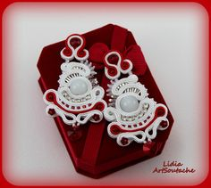 embroidered earingshand embroidered by LidiaArtSoutache on Etsy