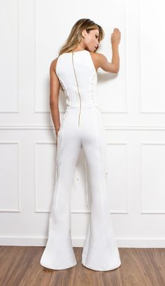 MACACÃO FLARE DETALHE ARGOLAS - MAC18256-99   Skazi, Moda feminina, roupa casual, vestidos, saias, mulher moderna