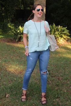 J.Crew factory linen top, Louis Vuitton Neverfull, and ripped denim via With Style and a Little Grace