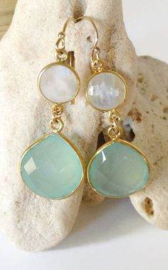 Aqua bridesmaid earrings beach wedding jewelry beach