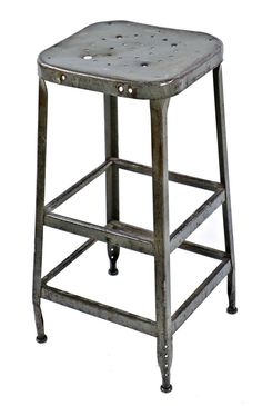 structurally sound and stable nicely weathered and worn original lyon pressed and folded salvaged chicago steel four-legged shop stool