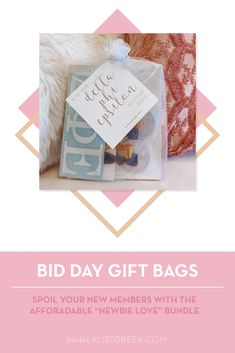 Spoil your new members this recruitment with the Newbie Love bundle! Gift bag includes a sorority decal, hair tie set, and button set. Delta Phi Epsilon Gifts   Delta Phi Epsilon Bid Day   DPhiE New Member Gifts   Delta Phi Epsilon Rush Gift Bags   Delta Phi Epsilon Recruitment   Sorority Bid Day   Sorority Recruitment   Bid Day Bags   Sorority New Member Gift Ideas #BidDayGifts #SororityRecruitment Alpha Epsilon Phi, Alpha Sigma Alpha, Sorority Bid Day, Sorority Recruitment, Bid Day Gifts, Letter Decals, Graduation Gifts For Her, Kappa Delta, Tie Set