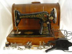 "1920 Singer ""Red Eye"" Electric Model 66 Sewing Machine Wood Case, Pedal"