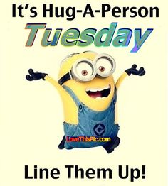 It Is Hug A Person Tuesday minion minions good morning tuesday tuesday quotes good morning quotes happy tuesday tuesday quote happy tuesday quotes minion quotes good morning tuesday Tuesday Quotes Funny, Tuesday Quotes Good Morning, Tuesday Humor, Thursday, Proud Quotes, Hug Quotes, Jokes Quotes, Funny Quotes, Quotable Quotes