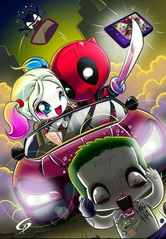 Funny as hell Harley Quinn/DeadPool mash up. Art by Dreamgate-Gad . Cute Deadpool, Deadpool Art, Deadpool Kawaii, Deadpool Chibi, Deadpool Wallpaper, Marvel Wallpaper, Cute Disney Wallpaper, Cute Cartoon Wallpapers, Cute Disney Drawings
