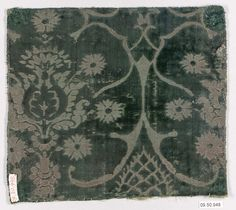 15th century Culture: Italian Medium: Silk Dimensions: 7 3/8 x 8 1/8 inches (18.7 x 20.6 cm) Classification: Textiles-Velvets