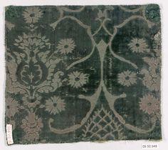 15th century Culture: Italian Medium: Silk Dimensions: 7 3/8 x 8 1/8 inches (18.7 x 20.6 cm) Classification: Textiles-Velvets
