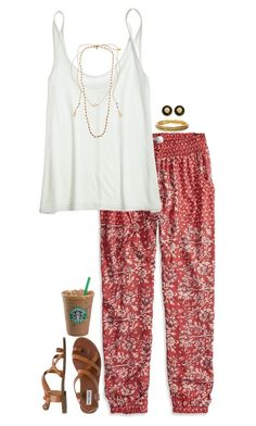 """bohemian preppy"" by lilypackard ❤ liked on Polyvore featuring American Eagle Outfitters, Calypso St. Barth, Chanel, Fornash, Steve Madden, Chan Luu and Majorica"