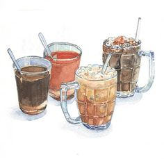 Old-style Coffee and Tea...Asian way (painted for The Baba Heritage Cuisine - Phuket Old Town)