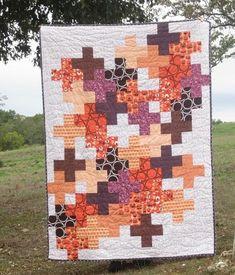 Art Nest - art nest - cross quilt finish Love this! Plus Quilt, Quilt Top, Quilting Projects, Quilting Designs, Quilting Ideas, Cross Quilt, Scrappy Quilts, Fall Quilts, Jellyroll Quilts
