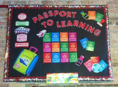 "Passport to Learning! This board is created by all TREND, Enterprises Inc. products: ""Passport to Learning"" bulletin board set, red border, 4"" red ""Chrome"" letters, and the ""World Flags"" border."
