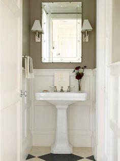 powder bathroom, powder bath, small bathroom, wallpaper, pedestal sink, stylish sconces, wall lighting, unique mirror, vero beach interior d...