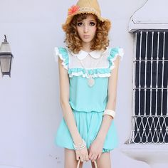 Blue and white 2013 summer collar ruffle petals loose jumpsuit, Free Shipping