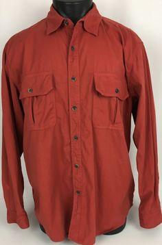 Schnee's Safari Field Poplin Shirt Hunting Red Large LS Dual Front Pockets Men's #Schnees #ButtonFront