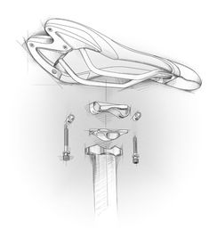 Bicycle-saddle exploded view.