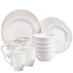 Certified International's Bianca Branches 16-Piece Dinnerware Set features beaded edging and beautiful raised botanical imagery that is visually striking. Each of the four place settings include a dinner plate, dessert plate, ice cream bowl and mug.