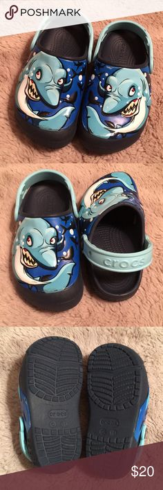 004fbabd9eaa Boys Shark Light Up Eyes Crocs Child s 11 Crocs Shark   Navy Kids  Crocs Fun