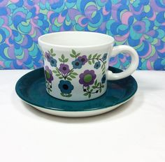 60s Vintage Flower Power Cup & Saucer Barker Bros Royalty Tudor Ware 6 Available