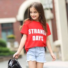 >> Click to Buy << 2016 Summer Red Fashion Tops Cotton T-shirts for Girls 5 6 7 8 9 10 11 12 13 14 T Years Old Teenagers Kids Clothes For Girls #Affiliate