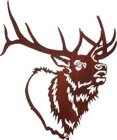 Laser Cut Art | Bugle Boy (Elk Head) | Metallic Wall Art