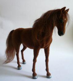 Naald vilten paard /OOAK/ aangepaste miniatuur sculptuur van