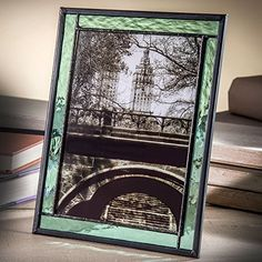 J Devlin Pic 36457HV Stained Glass Photo Frame Sage Green 5x7 Easel Back Frame for Portrait Vertical or Landscape Horizontal Pictures *** Read more  at the image link.