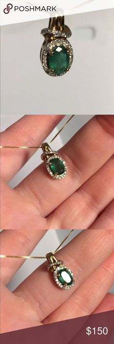 Gold And Emerald gorgeous pendant necklace Genuine 14k gold 18' Chain  APPROXIMATELY 1ct emerald and .35ct Diamond  1.3 DWT / 2 grams  Absolutely gorgeous piece. I've been stopped by multiple people on the street when wearing it. Jewelry Necklaces