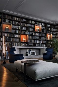 Home Library Rooms, Home Library Design, Home Room Design, Dream Home Design, Home Office Design, House Rooms, Home Interior Design, Interior Architecture, Living Room Designs