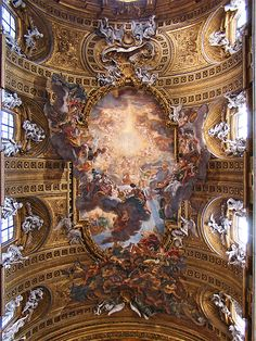 Triumph of the Name of Jesus, by Giovanni Battista Gaulli, on the vaulted ceiling of the Church of the Gesù in Rome, Italy. Fresco, Roman Church, Baroque Art, Baroque Architecture, Daughters Of The King, Leonardo, Tempera, Renaissance Art, Kingdom Of Heaven