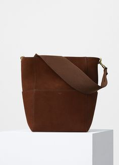 Sangle Shoulder Bag in Chestnut Double Sided Suede Calfskin - Céline Celine, Small Leather Goods, Leather Bag, Shopping Bag, Shoulder Bag, Belt, Handbags, Purses, Mini