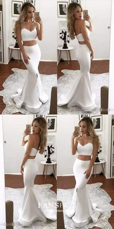 Prom Dresses 2018 2017 two piece prom dresses,sexy mermaid prom dresses,long white prom dresses,prom dresses for women Prom Dresses Two Piece, Prom Dresses For Teens, Prom Dresses 2018, Long Prom Gowns, Cheap Prom Dresses, Sexy Dresses, Fashion Dresses, Formal Dresses, Party Dresses