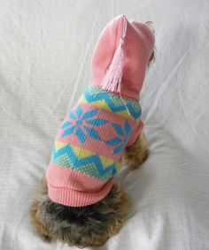 New Dog Cat Clothing Apparel Pink Blue Yellow Snowflake Hoodie Sweater  XS S M