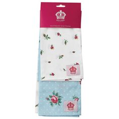 Royal Albert - Polka Blue & Rose Buds Set of 2 Tea Towels